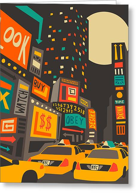 Times Square Digital Art Greeting Cards - Time Square Greeting Card by Jazzberry Blue