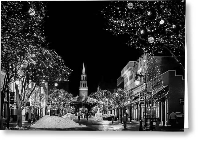Snow And Night Sky Greeting Cards - Tis the Season - Burlington Vermont Greeting Card by Mountain Dreams