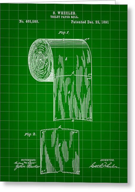 Urinal Greeting Cards - Toilet Paper Roll Patent 1891 - Green Greeting Card by Stephen Younts
