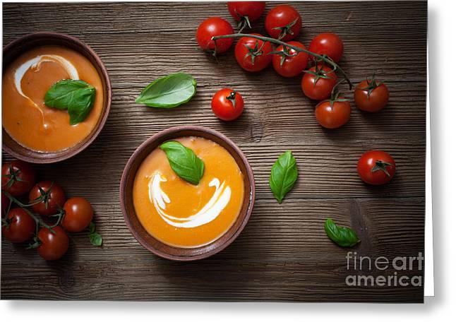 Menu Greeting Cards - Tomato soup Greeting Card by Kati Molin