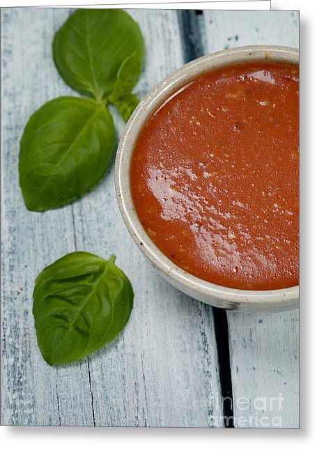 Supper Bowl Greeting Cards - Tomato soup Greeting Card by Mythja  Photography
