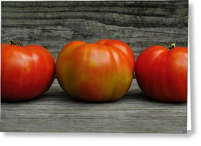 Home Grown Greeting Cards - 3 Tomatoes Greeting Card by Luke Moore