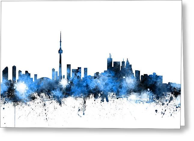 Canadian Digital Art Greeting Cards - Toronto Canada Skyline Greeting Card by Michael Tompsett