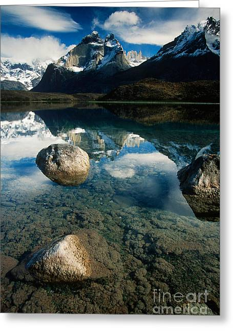 Reflecting Water Greeting Cards - Torres Del Paine Np, Chile Greeting Card by Art Wolfe