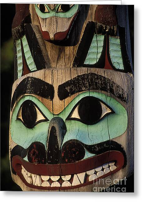 Painted Wood Greeting Cards - Totem Pole Greeting Card by Ron Sanford