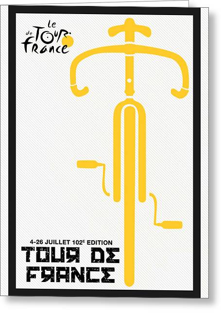 Actions Mixed Media Greeting Cards - Tour de France 2015 Minimalist Poster Greeting Card by Celestial Images