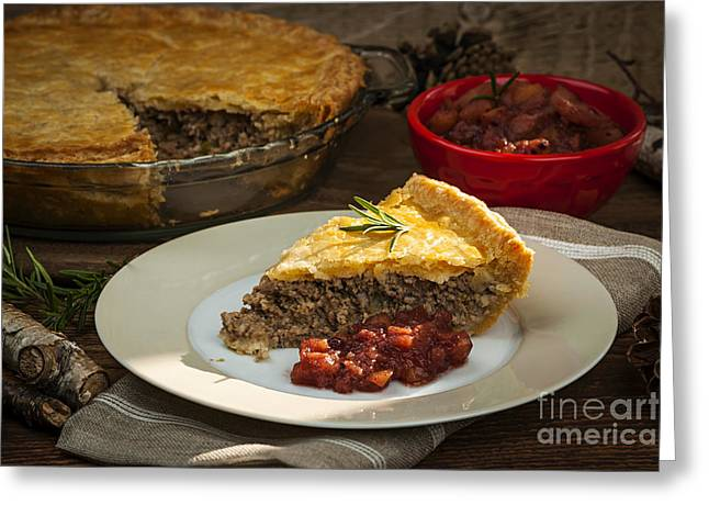 Portion Greeting Cards - Tourtiere meat pie Greeting Card by Elena Elisseeva