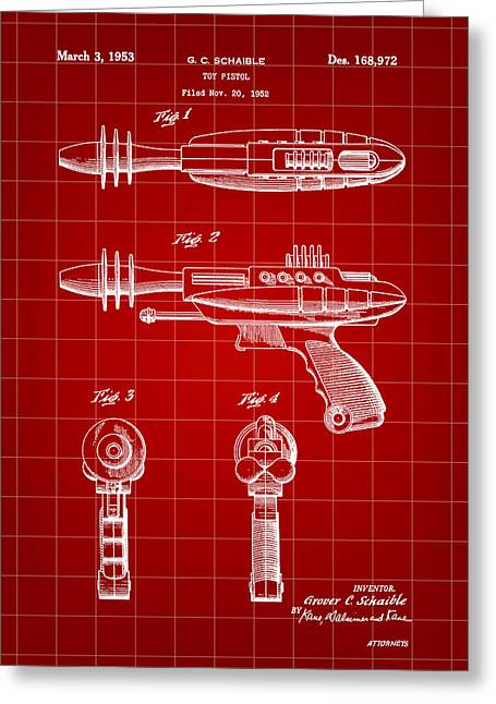 Blaster Greeting Cards - Toy Ray Gun Patent 1952 - Red Greeting Card by Stephen Younts