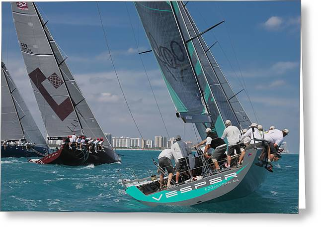 Ultimate Luxury Greeting Cards - TP52 Miami Regatta Greeting Card by Steven Lapkin