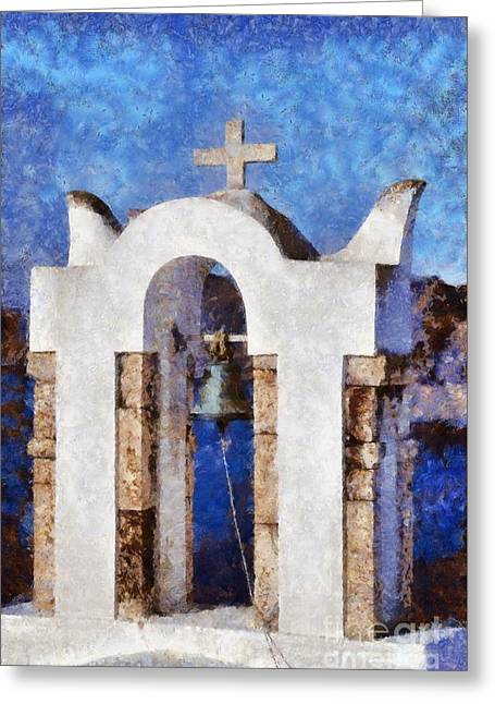 Santorini Greeting Cards - Traditional belfry in Oia town Greeting Card by George Atsametakis