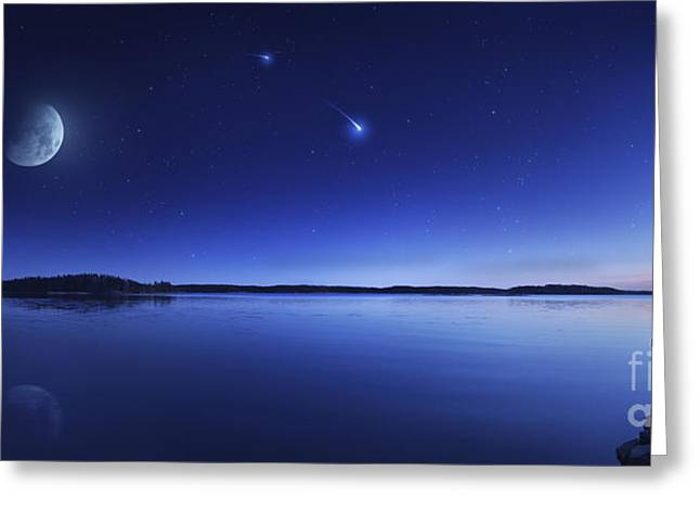 Lake Crescent Greeting Cards - Tranquil Lake Against Starry Sky, Moon Greeting Card by Evgeny Kuklev