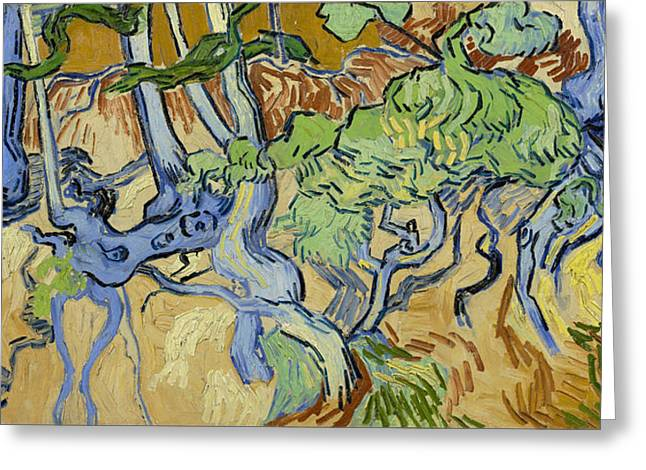 Tree Roots Paintings Greeting Cards - Tree Roots  Greeting Card by Vincent Van Gogh