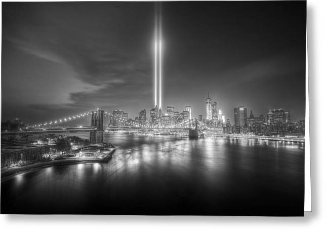 9-11 Greeting Cards - Tribute In Light Greeting Card by Tim Drivas