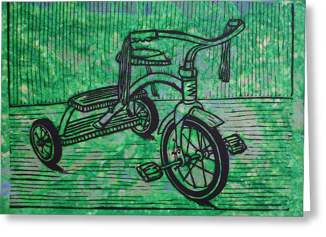 Linoluem Greeting Cards - Tricycle Greeting Card by William Cauthern