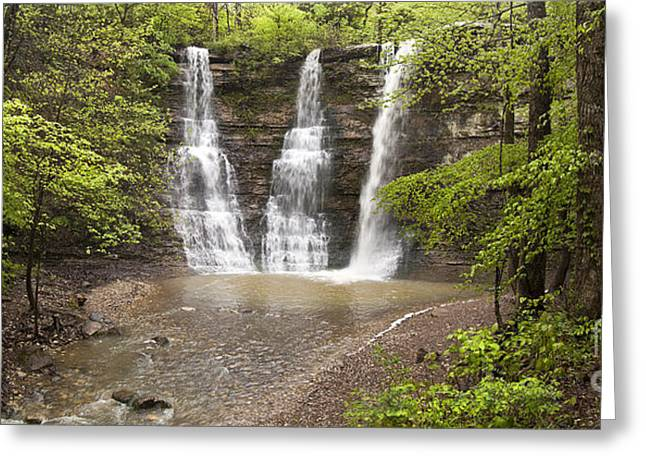 Arkansas Greeting Cards - Triple Falls Waterfalls in the Arkansas Ozark Mountains Greeting Card by Brandon Alms