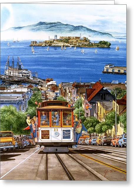 Hyper Greeting Cards - Trolley Of San Francisco Greeting Card by John YATO