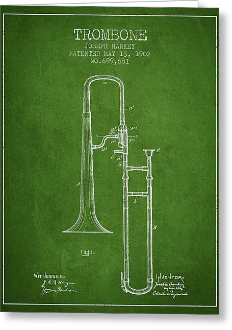 Trombone Greeting Cards - Trombone Patent from 1902 - Green Greeting Card by Aged Pixel