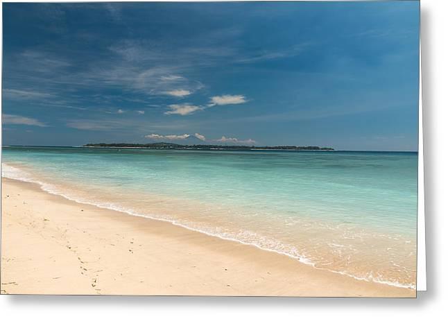 Blue Green Wave Greeting Cards - Tropical beach Greeting Card by Nikita Buida