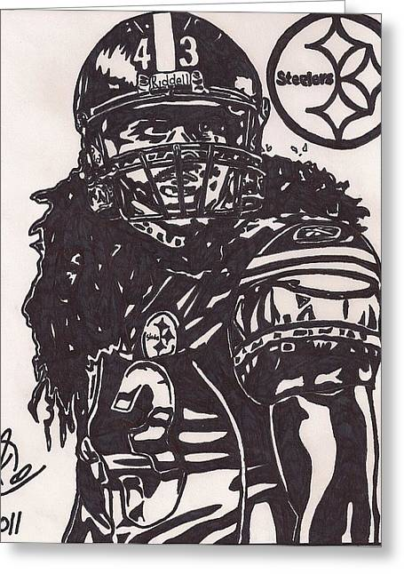 Steelers Drawings Greeting Cards - Troy Polomalu Greeting Card by Jeremiah Colley