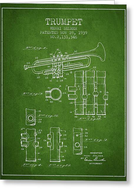 Trumpet Greeting Cards - Trumpet Patent from 1939 - Green Greeting Card by Aged Pixel