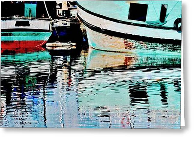 Fischer Boat Greeting Cards - Turquoise Greeting Card by Werner Lehmann