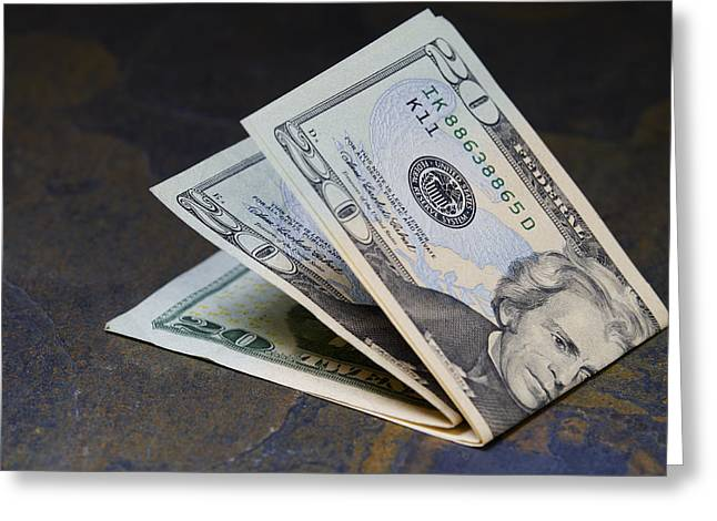 Pay The Piper Greeting Cards - Twenty Dollar Bills US Paper Currency Greeting Card by Donald  Erickson