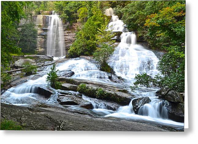 Marvelous View Greeting Cards - Twin Falls Greeting Card by Frozen in Time Fine Art Photography
