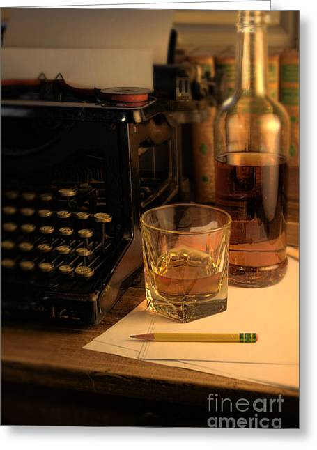 Antique Typewriter Greeting Cards - Typewriter and Whiskey Greeting Card by Jill Battaglia