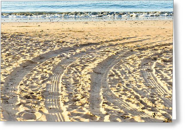 Beach Theme Abstract Greeting Cards - Tyre tracks Greeting Card by Tom Gowanlock