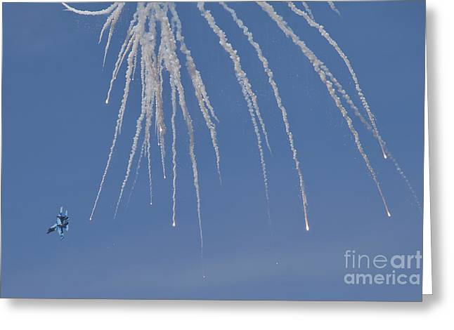 Hradec Greeting Cards - Ukrainian Air Force Su-27 Flanker Greeting Card by Timm Ziegenthaler