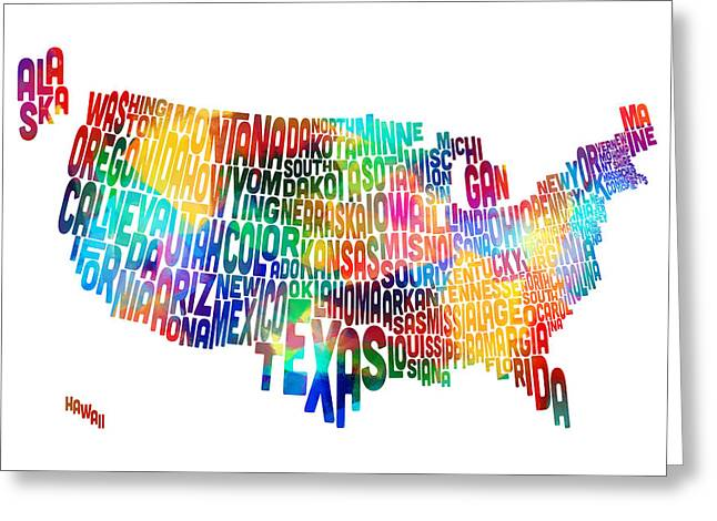Cartography Digital Art Greeting Cards - United States Typography Text Map Greeting Card by Michael Tompsett