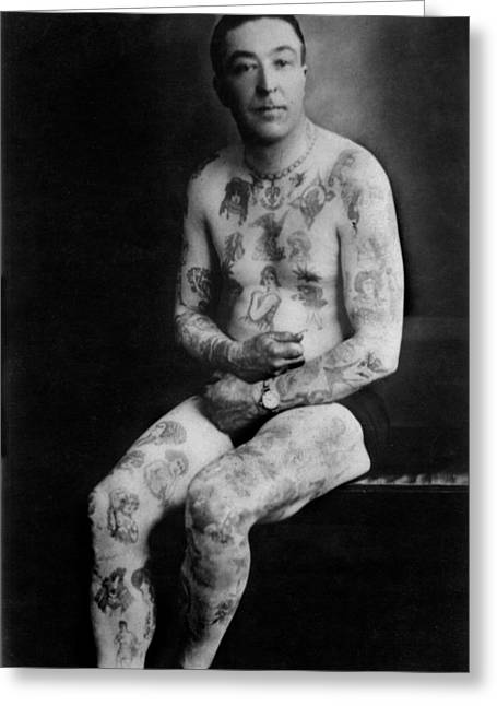 Best Sellers -  - Tattoo Flash Greeting Cards - Old Tattoo Photographs Flash Art Greeting Card by Larry Mora
