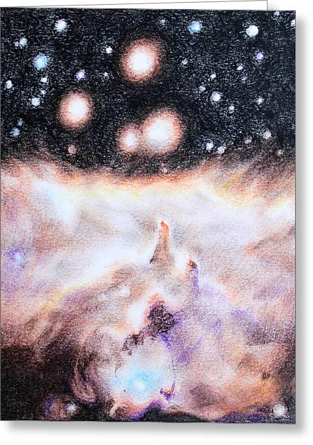 Outer Space Drawings Greeting Cards - Untitled Greeting Card by Theresa Hentz