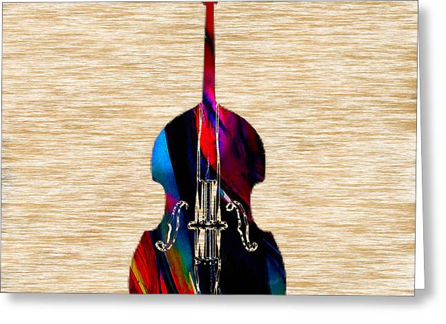 Upright Bass Greeting Card by Marvin Blaine