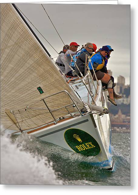Seacape Greeting Cards - Upwind on The Bay Greeting Card by Steven Lapkin