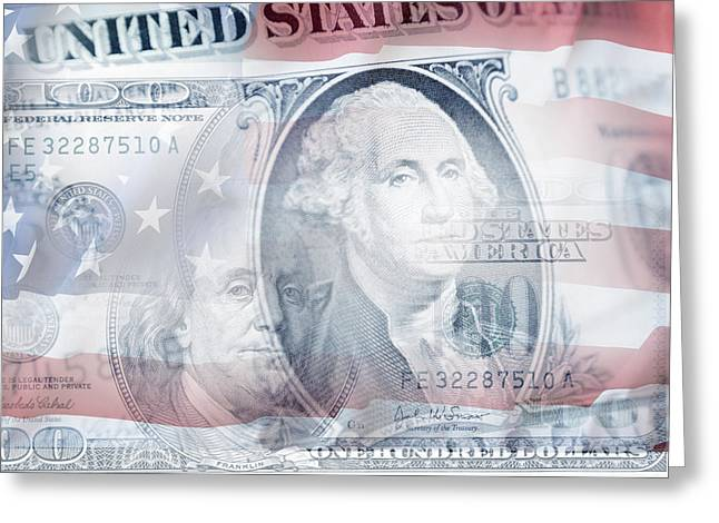 Banknotes Greeting Cards - USA finance Greeting Card by Les Cunliffe