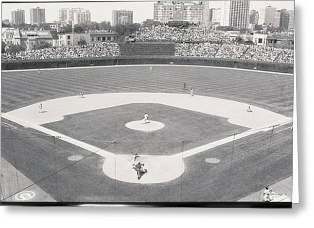 Human Being Photographs Greeting Cards - Usa, Illinois, Chicago, Cubs, Baseball Greeting Card by Panoramic Images