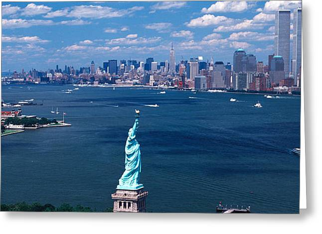 Wtc Greeting Cards - Usa, New York, Statue Of Liberty Greeting Card by Panoramic Images