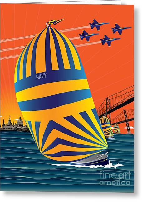 Ocean Sailing Greeting Cards - USNA Sunset Sail Greeting Card by Joe Barsin
