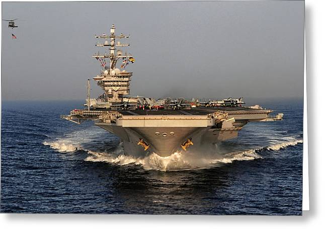 Carrier Greeting Cards - USS Dwight D. Eisenhower Greeting Card by Mountain Dreams