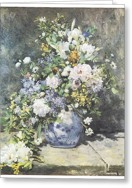 Renoir Greeting Cards - Vase of Flowers Greeting Card by Pierre-Auguste Renoir