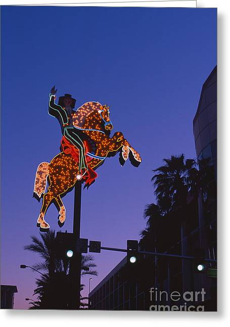 Carefree Cowboy Greeting Cards - Vegas Greeting Card by Chris Selby