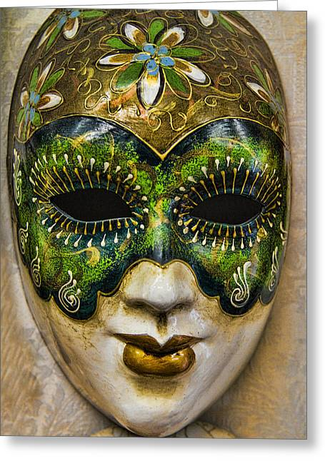 Famous Places Greeting Cards - Venetian Carnaval Mask Greeting Card by David Smith