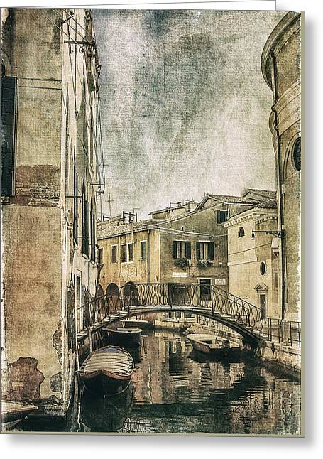 Julie Palencia Greeting Cards - Venice Back in Time Greeting Card by Julie Palencia