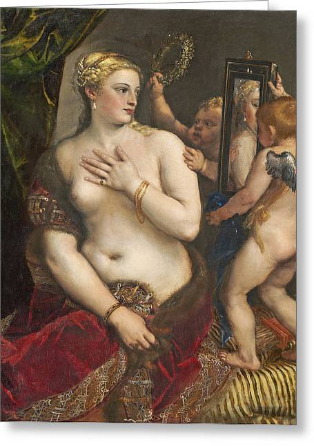 Vain Greeting Cards - Venus with a Mirror Greeting Card by Titian