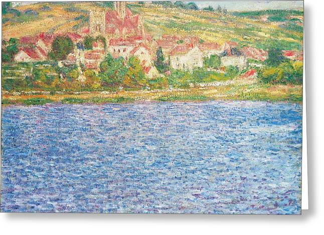 Calm Paintings Greeting Cards - Vetheuil Greeting Card by Claude Monet