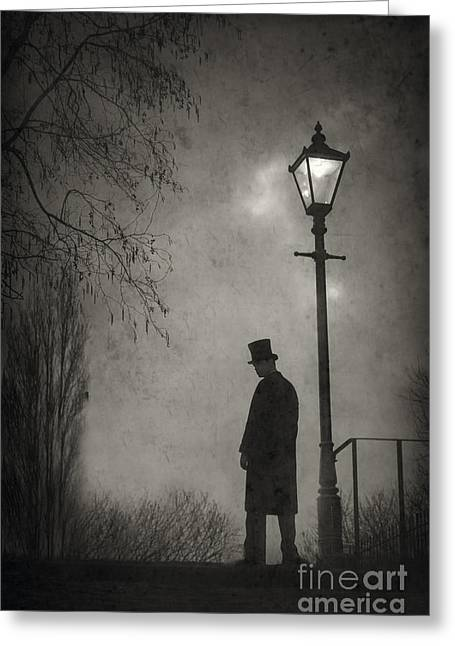 Streetlight Greeting Cards - Victorian Man Standing Next To An Illuminated Gas Lamp Greeting Card by Lee Avison