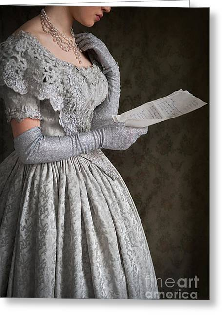 Glittery Jewelry Greeting Cards - Victorian Woman Reading A Letter Greeting Card by Lee Avison
