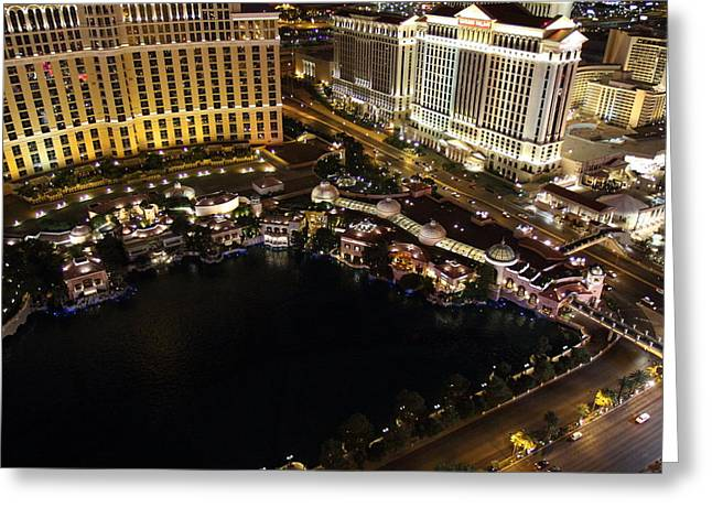 Bellagio Greeting Cards - View from Eiffel Tower in Las Vegas - 01132 Greeting Card by DC Photographer