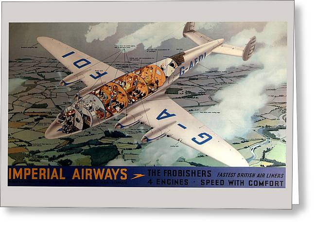 Vintage Airline Greeting Cards - Vintage Airline Ad 1939 Greeting Card by Andrew Fare